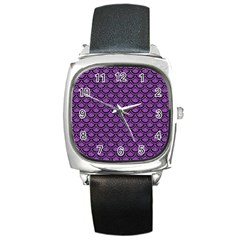 Scales2 Black Marble & Purple Denim Square Metal Watch by trendistuff