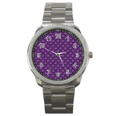 Scales2 Black Marble & Purple Denim Sport Metal Watch by trendistuff