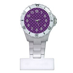 Scales2 Black Marble & Purple Denim Plastic Nurses Watch by trendistuff