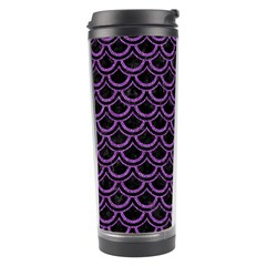 Scales2 Black Marble & Purple Denim (r) Travel Tumbler by trendistuff
