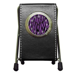 Skin4 Black Marble & Purple Denim Pen Holder Desk Clocks by trendistuff