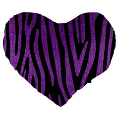 Skin4 Black Marble & Purple Denim Large 19  Premium Flano Heart Shape Cushions by trendistuff