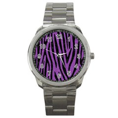 Skin4 Black Marble & Purple Denim (r) Sport Metal Watch by trendistuff