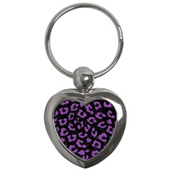 Skin5 Black Marble & Purple Denim Key Chains (heart)  by trendistuff