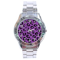 Skin5 Black Marble & Purple Denim (r) Stainless Steel Analogue Watch by trendistuff
