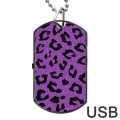 Skin5 Black Marble & Purple Denim (r) Dog Tag Usb Flash (one Side) by trendistuff