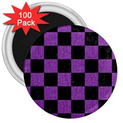 Square1 Black Marble & Purple Denim 3  Magnets (100 Pack) by trendistuff