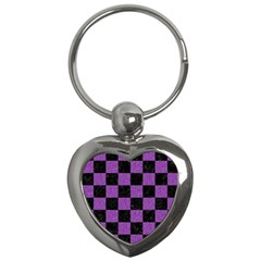 Square1 Black Marble & Purple Denim Key Chains (heart)  by trendistuff