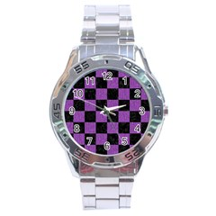 Square1 Black Marble & Purple Denim Stainless Steel Analogue Watch by trendistuff