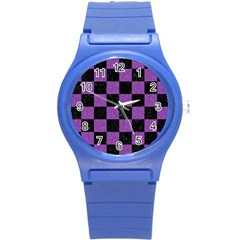 Square1 Black Marble & Purple Denim Round Plastic Sport Watch (s) by trendistuff