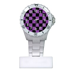 Square1 Black Marble & Purple Denim Plastic Nurses Watch by trendistuff