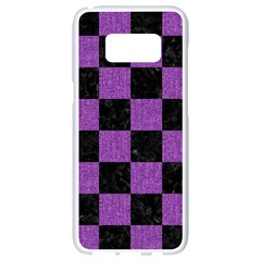 Square1 Black Marble & Purple Denim Samsung Galaxy S8 White Seamless Case by trendistuff