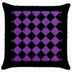 Square2 Black Marble & Purple Denim Throw Pillow Case (black) by trendistuff