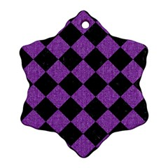 Square2 Black Marble & Purple Denim Snowflake Ornament (two Sides) by trendistuff