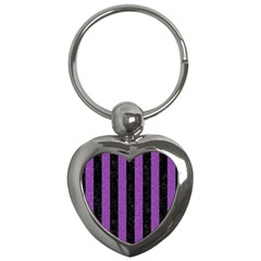 Stripes1 Black Marble & Purple Denim Key Chains (heart)  by trendistuff