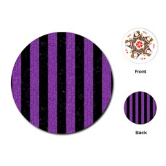 Stripes1 Black Marble & Purple Denim Playing Cards (round)  by trendistuff