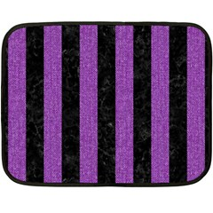 Stripes1 Black Marble & Purple Denim Fleece Blanket (mini) by trendistuff