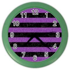 Stripes2 Black Marble & Purple Denim Color Wall Clocks by trendistuff