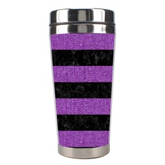 Stripes2 Black Marble & Purple Denim Stainless Steel Travel Tumblers by trendistuff