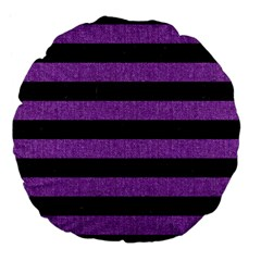 Stripes2 Black Marble & Purple Denim Large 18  Premium Flano Round Cushions by trendistuff
