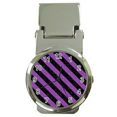 Stripes3 Black Marble & Purple Denim Money Clip Watches by trendistuff