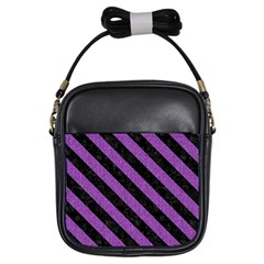 Stripes3 Black Marble & Purple Denim Girls Sling Bags