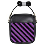 STRIPES3 BLACK MARBLE & PURPLE DENIM Girls Sling Bags Front