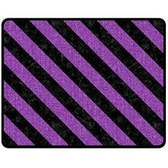 Stripes3 Black Marble & Purple Denim Fleece Blanket (medium)  by trendistuff