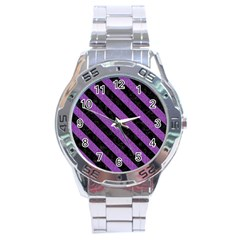 Stripes3 Black Marble & Purple Denim Stainless Steel Analogue Watch by trendistuff