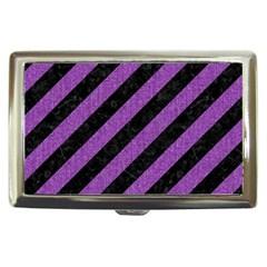 Stripes3 Black Marble & Purple Denim (r) Cigarette Money Cases by trendistuff