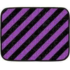 Stripes3 Black Marble & Purple Denim (r) Fleece Blanket (mini) by trendistuff