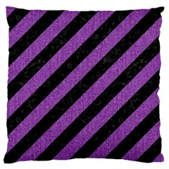 Stripes3 Black Marble & Purple Denim (r) Large Cushion Case (two Sides) by trendistuff