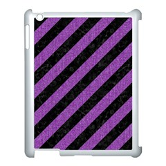 Stripes3 Black Marble & Purple Denim (r) Apple Ipad 3/4 Case (white) by trendistuff