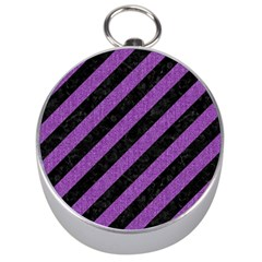 Stripes3 Black Marble & Purple Denim (r) Silver Compasses by trendistuff