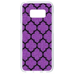 Tile1 Black Marble & Purple Denim Samsung Galaxy S8 White Seamless Case by trendistuff