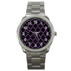 Tile1 Black Marble & Purple Denim (r) Sport Metal Watch by trendistuff