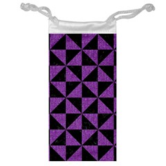 Triangle1 Black Marble & Purple Denim Jewelry Bag by trendistuff
