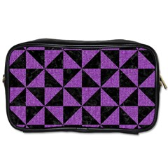 Triangle1 Black Marble & Purple Denim Toiletries Bags 2 Side by trendistuff
