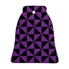 Triangle1 Black Marble & Purple Denim Bell Ornament (two Sides) by trendistuff