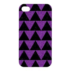 Triangle2 Black Marble & Purple Denim Apple Iphone 4/4s Hardshell Case by trendistuff