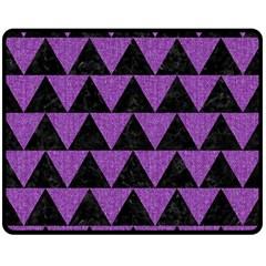 Triangle2 Black Marble & Purple Denim Double Sided Fleece Blanket (medium)  by trendistuff