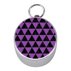 Triangle3 Black Marble & Purple Denim Mini Silver Compasses by trendistuff