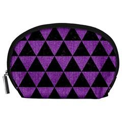 Triangle3 Black Marble & Purple Denim Accessory Pouches (large)  by trendistuff