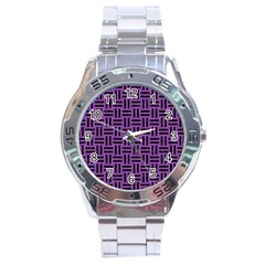 Woven1 Black Marble & Purple Denim Stainless Steel Analogue Watch by trendistuff