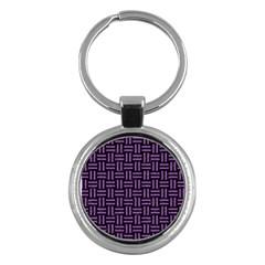 Woven1 Black Marble & Purple Denim (r) Key Chains (round)  by trendistuff