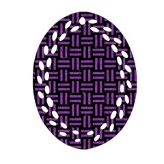 Woven1 Black Marble & Purple Denim (r) Oval Filigree Ornament (two Sides) by trendistuff