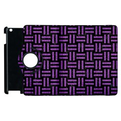 Woven1 Black Marble & Purple Denim (r) Apple Ipad 3/4 Flip 360 Case by trendistuff