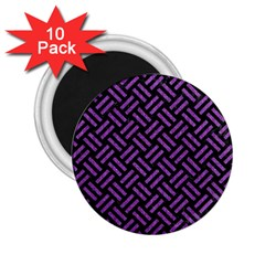 Woven2 Black Marble & Purple Denim (r) 2 25  Magnets (10 Pack)  by trendistuff