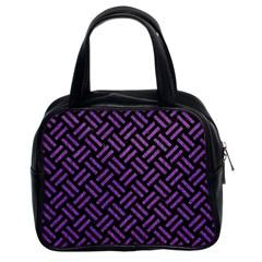 Woven2 Black Marble & Purple Denim (r) Classic Handbags (2 Sides) by trendistuff