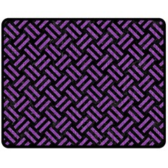 Woven2 Black Marble & Purple Denim (r) Double Sided Fleece Blanket (medium)  by trendistuff